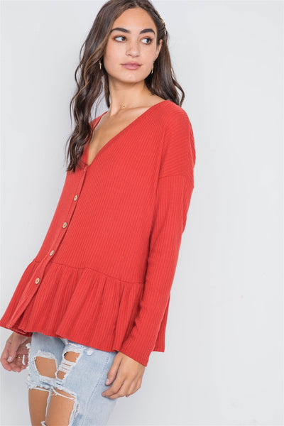 Orange Red Ribbed Long Sleeve Button Front Sweater