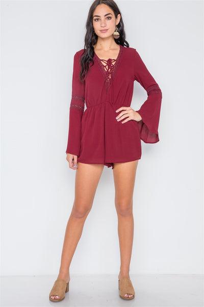 Crochet Bell Sleeve Lace-up Romper