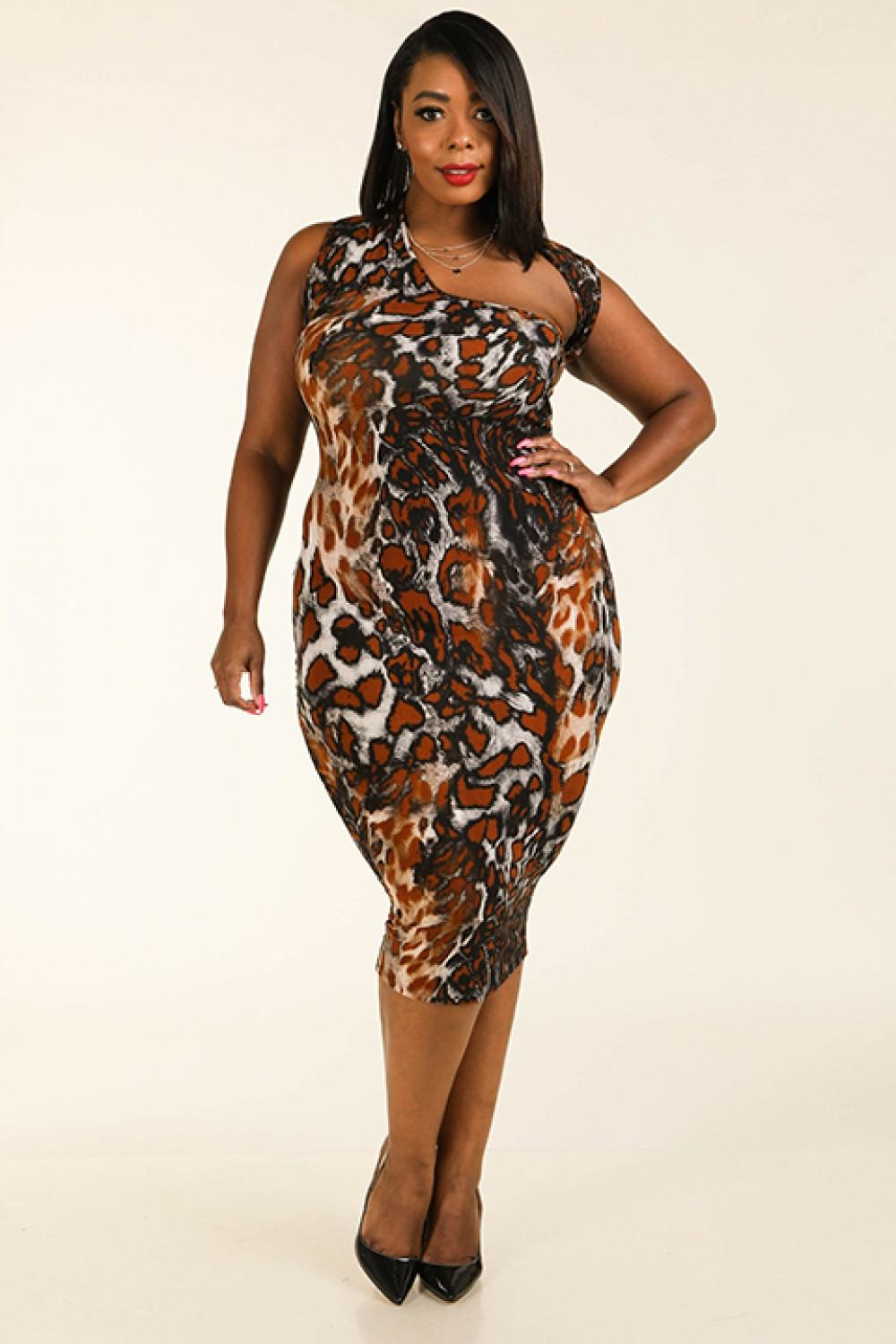 Leopard Around The Neck Sleeveless Bodycon Dress