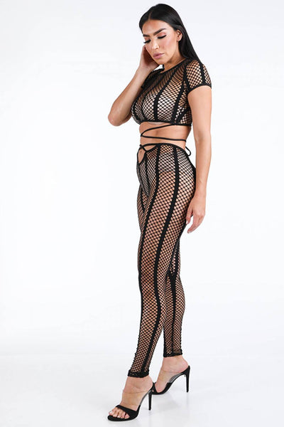 Fishnet Stripe Strappy Top & Leggings Set