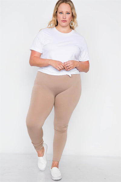 Plus Size Fleece Lined Solid Leggings