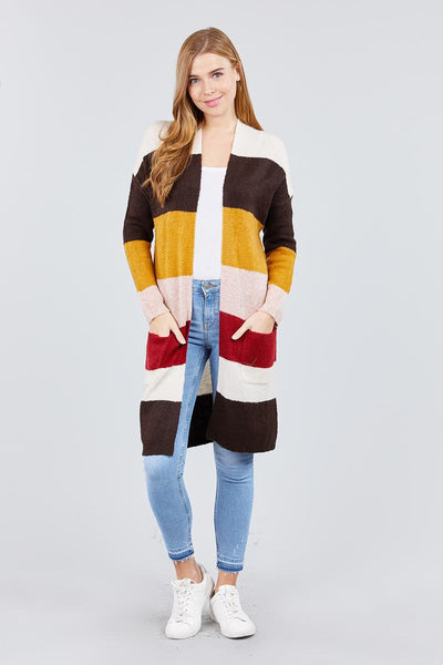 Long Sleeve Open Front W/pocket Color Block Cardigan