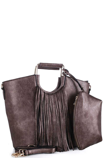 2in1 Stylish Tassel Fringe Satchel With Long Strap