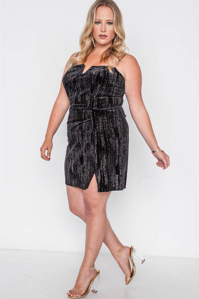 Plus Size Black Side Slit Cami Evening Mini Dress