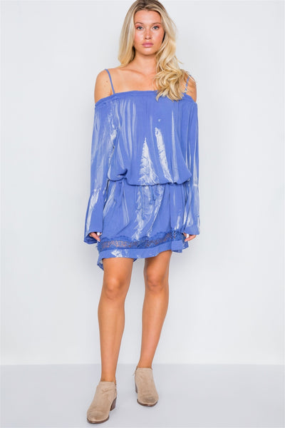 Bell Sleeves Tie Dye Boho Mini Dress