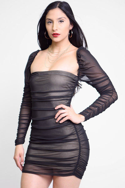 Mesh Ruched Bodycon Tube Dress
