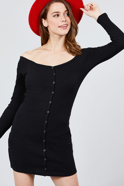 Long Sleeve Off The Shoulder Neckline Front Snap Button Detail Cotton Spandex Heavy Rib Mini Dress