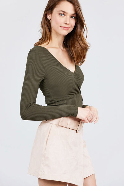 Long Sleeve Surplice Neck Line Button Detail Rib Knit Top