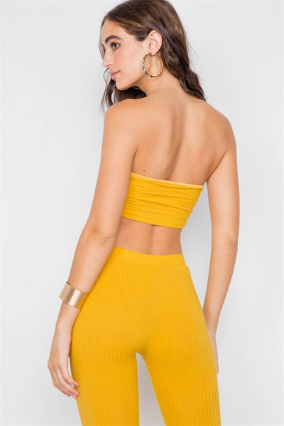 Ribbed Crop Tube Top & Ankle Legging Set