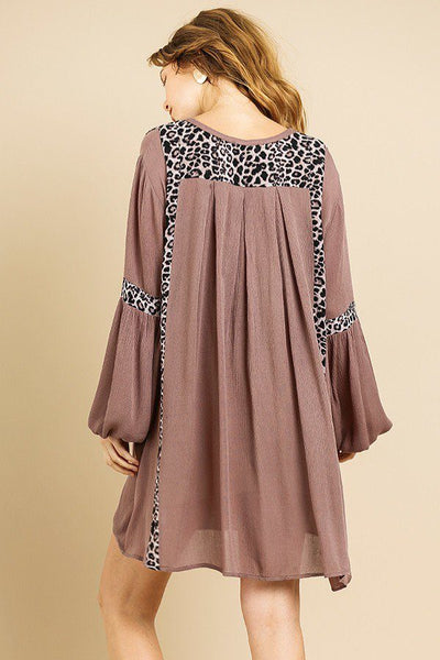 Animal Print Long Puff Sleeve Split Neck Babydoll Dress