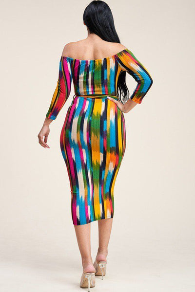 Multi Color Antenna Print 3/4 Sleeve Off The Shoulder Midi Dress