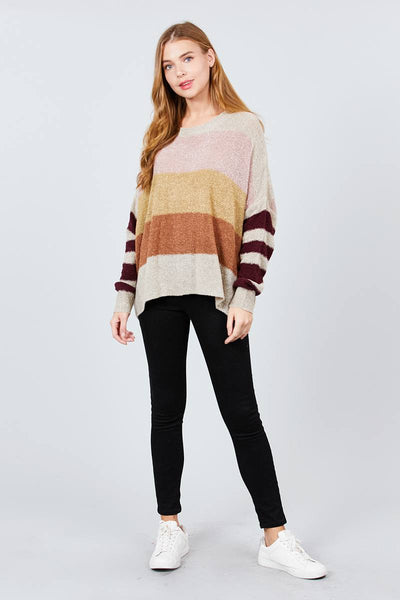 Long Dolman Sleeve Round Neck Multi Color Block Sweater