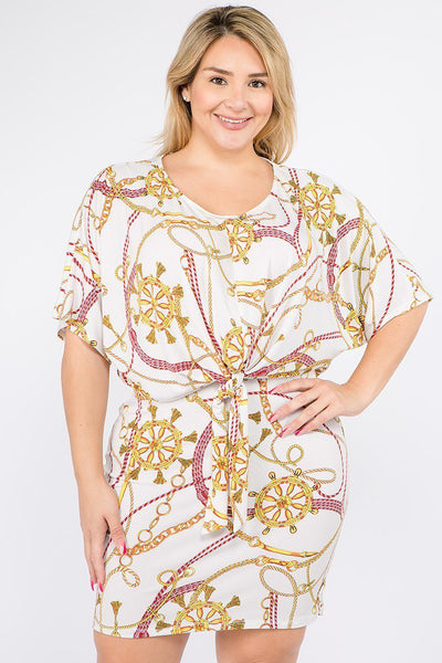Plus Size Multi Color Print Short Sleeve Dress