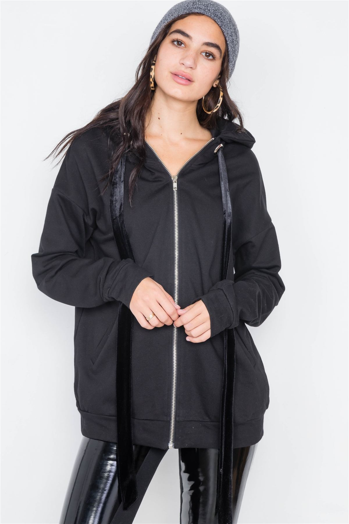 Black Cotton Zip-up Hoodie Sweater