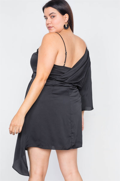Plus Size  Silk One Shoulder Mini Dress