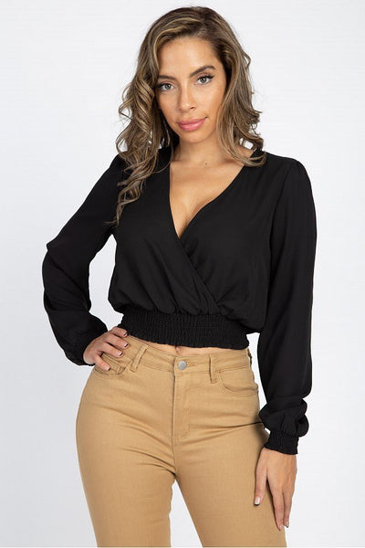 Smocked Hem Wrap Crop Top