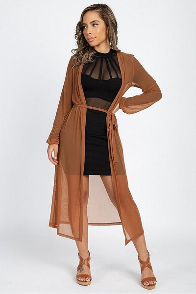 Sheer Mesh Open Front Cardigan