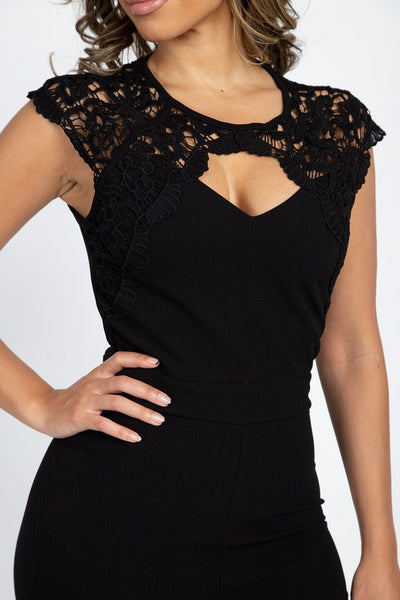 Crochet Lace Cutout Jumpsuit