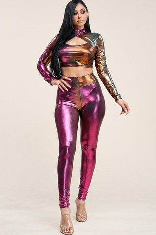 Ombre Foil Venecia Long Sleeve Mock Neck Cropped Top And Leggings Two Piece Set