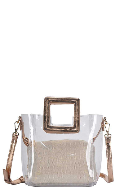 2in1 Transparent Satchel With Long Strap