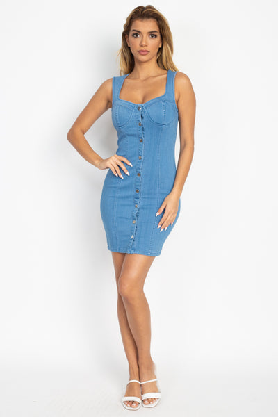 Button Front Denim Bodycon Dress
