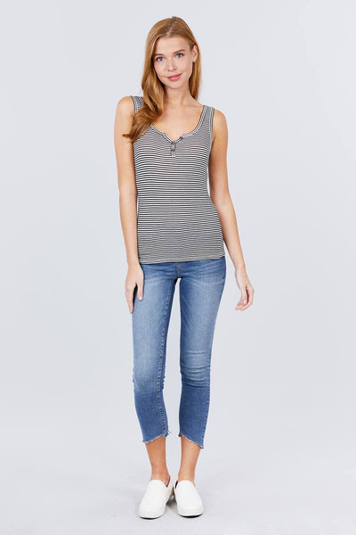 Sleeveless Henley Stripe Rayon Spandex Rib Top