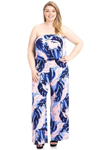 Plus Size Tropical Print Tube Top Flowy  Jumpsuit