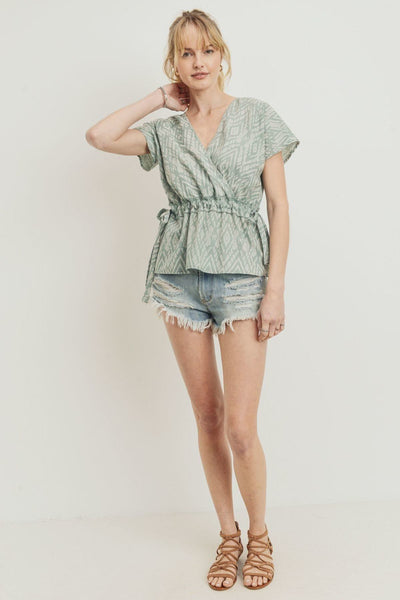 Printed Woven Surplice Gathered Short Sleeve Top