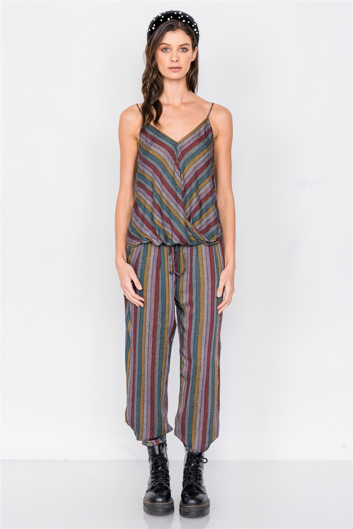 Multi Stripe Scoop Neck High-low Cami & Side Slit Harem Pant Set