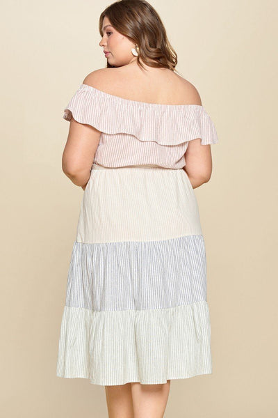 Tiered Off-shoulder Flounce Dress Featuring Stripe Details And Self Ties.