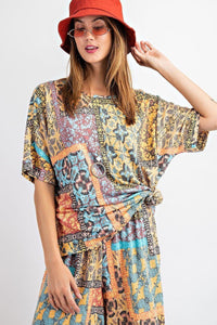 Tribal Printed Short Sleeve Terry Loose Fit Knit Top