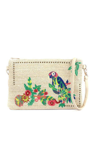 Macaw Embroidered Pouch