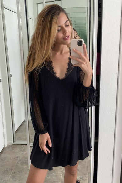 Boho Black Floral Lace Cami Swing Mini Dress
