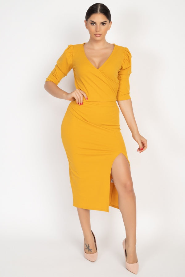 Wrap Crop Top & Side Slit Skirt Set