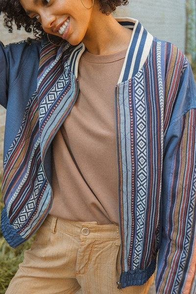 A Woven Jacket That Features Tribal Striped Accents