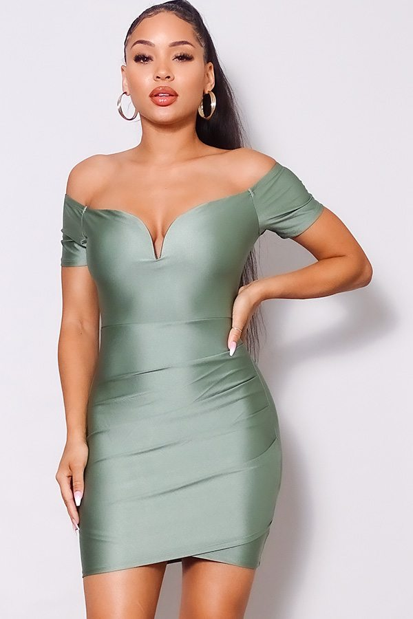 Off Shoulder V Front Gathered Bodycon Mini Dress