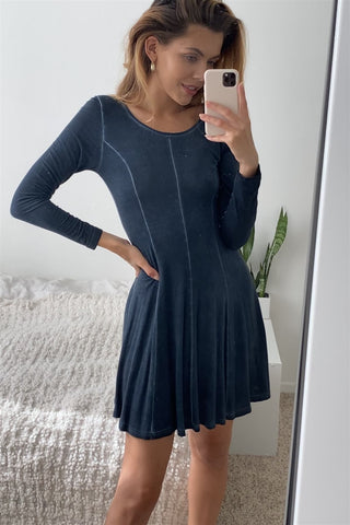Boho Navy Blue Acid Wash Long Sleeves Swing Dress