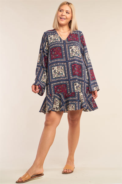 Plus Size Navy Mix Loose Fit V-neck Scarf Print Long Sleeve Flounce Hem Mini Dress