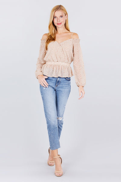 Off Shoulder Heart Neck Top