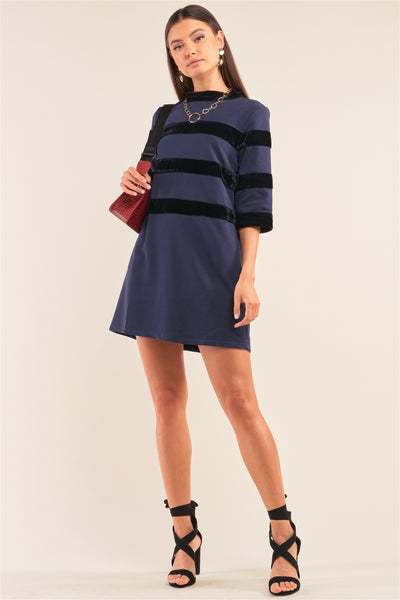 Navy Contrast Velvet Round Neck Open Back Self-tie Keyhole 3/4 Sleeve Mini Dress