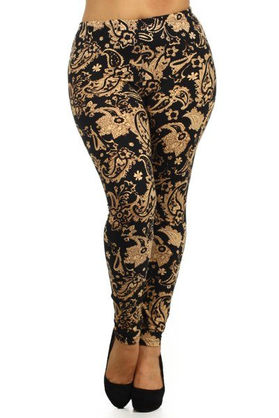 Plus Size Paisley Floral Print, High Waist Leggings. Leggings Are Fully Lined