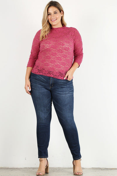 Plus Size Sheer Lace Fitted Top