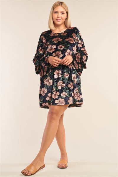 Plus Size Floral Print Velvet Long Layered Hem Sleeve Mini Dress