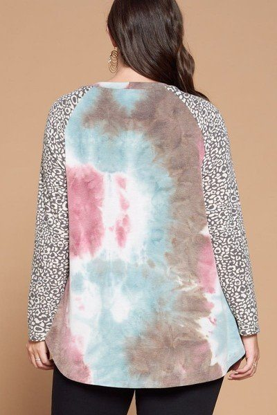 Plus Size French Terry Tie Dye Casual Color Block Top