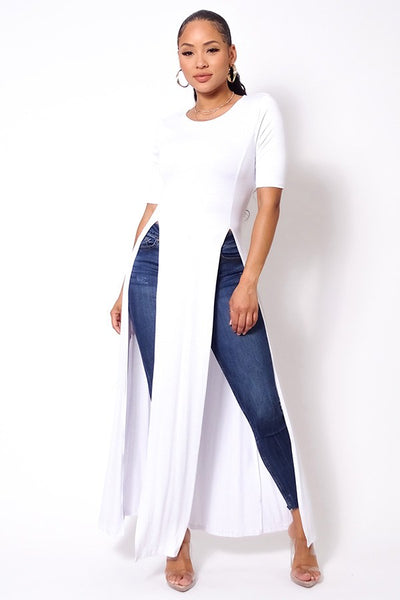 Elbow Sleeve Maxi Tank Top With Side Slits