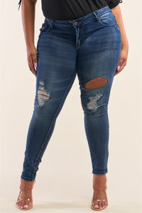 Plus Size Dark Blue Low-rise Ripped Denim Pants