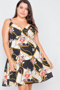 Plus Size Black Floral Belt & Chain Printed Mini Dress