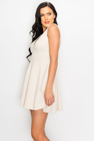 V-neck Back Cutout Skater Dress
