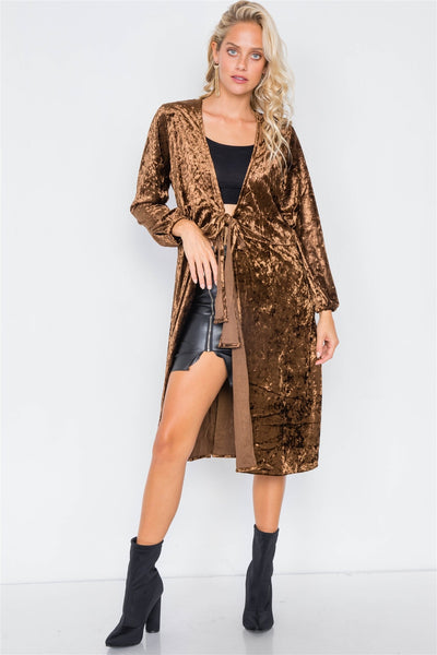 Crushed Velvet Open Front Tie Jacket