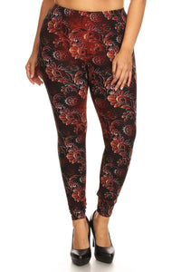 Plus Size Abstract Print, Full Length Leggings In A Slim Fitting Style With A Banded High Waist.